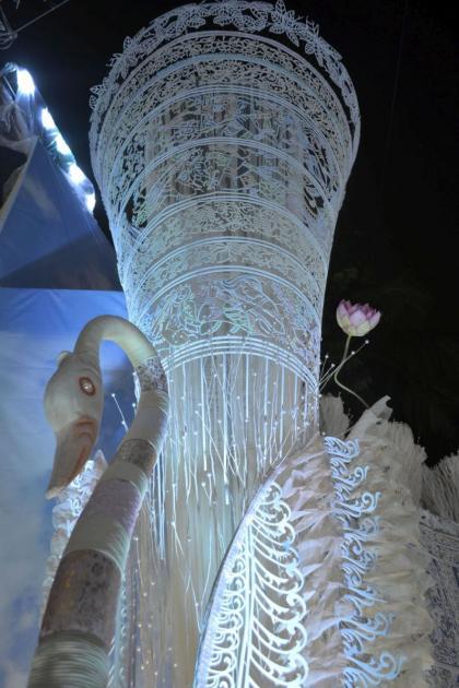 Swan and the tall flaring feathered funnel, Kolkata Durga Puja 2015