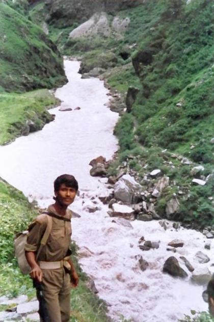 BSF boy Ganesh on the bank of Kali river near Malpa, Day 6
