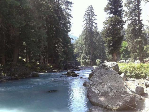 Pristine blue river, Kashmir valley
