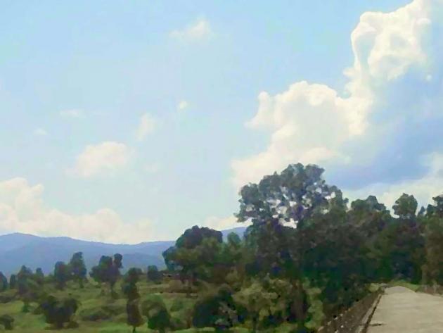 Bluish green hills from bridge on North Koel at Garu