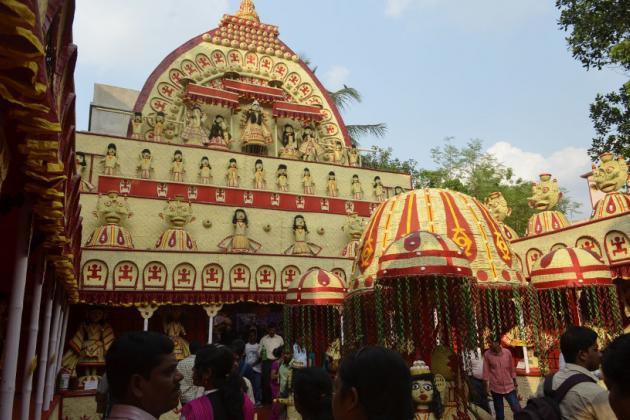 Colorful courtyard, third Durga Puja theme