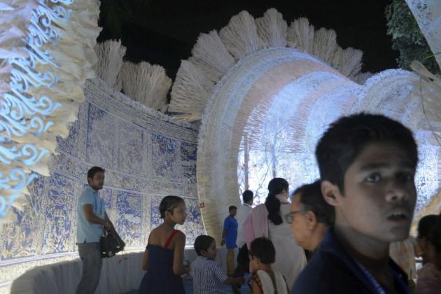 Blue light glowing from within, Kolkata Durga Puja 2015