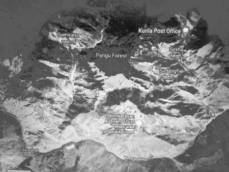 Day 4 route map, Pangu to Sirkha, Kailash Manas Sarovar Yatra